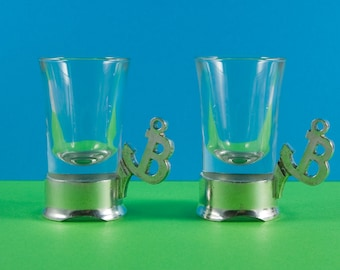 Boxed set of two Troll-Tin pewter embossed shot glasses, expresso glasses, handmade pewter Norway