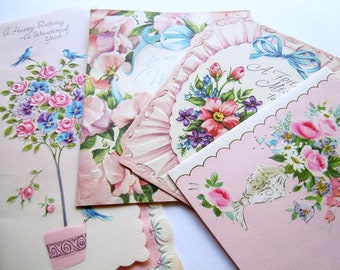 Vintage Pretty Pastel Pink Flowers Floral Greeting Cards Lot
