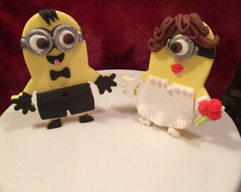 Edible Minion Fondant Wedding Cake Topper