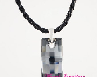New Men's Dog Tag With Swarovski Silver Night Clear Crystal Woven Leather Necklace