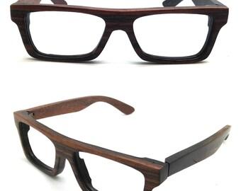 KNIGHT very square handmade  EBONY wood prescription sunglasses  glasses TAKEMOTO