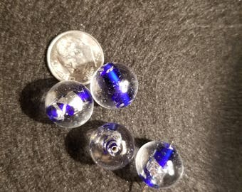 1 15mm Clear with Blue/Silver Swirl Round Lampwork Glass Bead A14