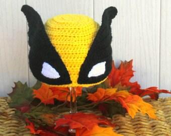 Wolverine X-MEN hat, Yellow WOLVERINE hat, Grey Wolverine hat, baby wolverine hat, kids wolverine HAT