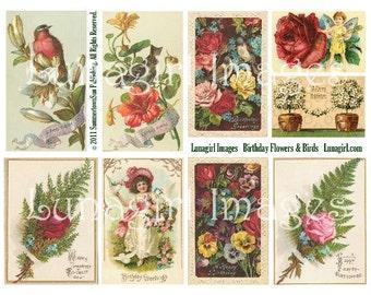 VICTORIAN BIRTHDAY CARDS, digital collage sheet, vintage Roses Flowers Birds Pansies, antique floral postcards altered art ephemera Download