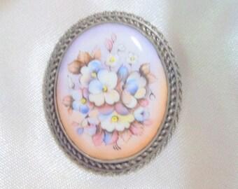 SALE - Pale Pinks Floral Porcelain Vintage Brooch