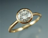 14k gold Chiseled Engagement Ring w/ Moissanite - Faceted Band
