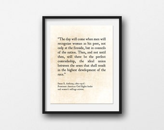Susan B Anthony Quote, Print Activism Quote, Literary Wall Art, Women's Liberation, Women's Studies Quote, Large Wall Art, Fine Art Print