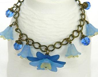 Bracelets for Women Blue Bracelet Gift for Women Charm Bracelet Gift for Her Simple Bracelet Flower Bracelet Chain Bracelet Flower Jewelry