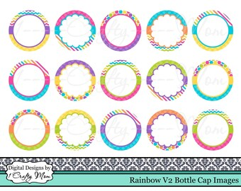 Editable Bottle Cap Images Rainbow Bright V2 : Instant Digital Download