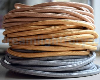 Gold Silver Cocoa Textile cable 1-25m (3-80ft) Fabric Covered Wire Cloth covered wire Cloth cord Color cord Electrical cord Lighting cable