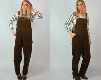 Vintage 90s Brown Cord Long Dungarees / Overalls