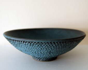 RESERVED FOR S.E.M. - Intricately Carved Salmon Skin Bowl