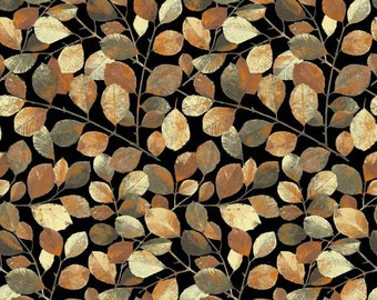 P&B Textiles - Shades of Autumn - Leaves w/ Metallic - Black - Fabric by the Yard SAUT447-K