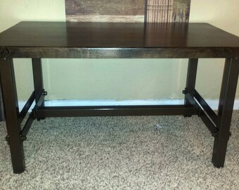 Small Industrial Style Coffee Table of Recycled Steel with an Antique Bronze Finish and Solid Alder Top Stained Dark Walnut