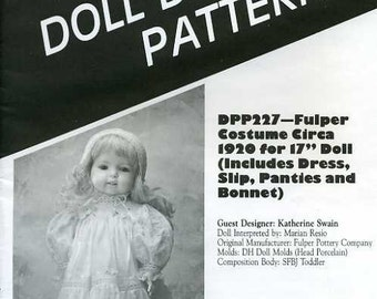 "FREE US SHIP Poissot Doll Dress Retro 1990's dpp 227 Fulper Costume Circa 1920 17"" Sewing Pattern Insert From Dollcrafter Vintage Magazine"