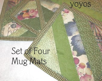 MUG MATS, GRAPES, Set of Four,  Greens,  Patchwork, Quilt,  Home Decor,  Kitchen Décor, Country Decor, Hostess Gift, Wine Party, Mothers Day