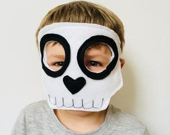 Kids Halloween Skull Mask, Adult Skull Mask, Halloween Skeleton Mask, Skeleton Costume, Skeleton Outfit, Day of the Dead Felt Skull Mask.
