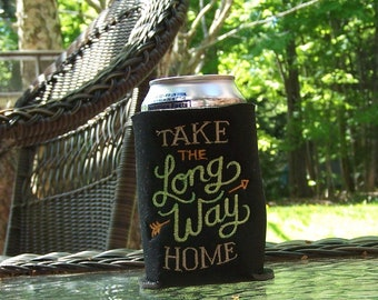 Can cooler--Take the Long Way Home embroidered