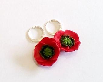 Red Poppy Drop Earrings, Red Flower Drop Earrings,  Poppy Jewelry, Wedding Earrings, Summer Jewelry, Bridesmaid Jewelry