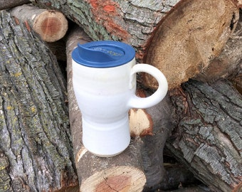New! Travel Mug, Lidded Cup, White, Pottery Handmade by Daisy Friesen