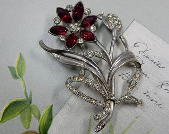 1940s Red Flower Bouquet Brooch    ODQ39