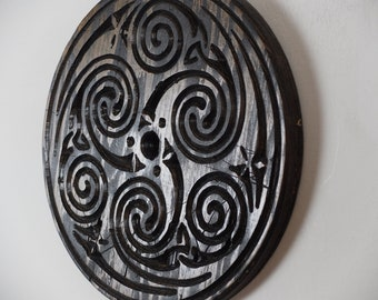 Celtic Triskelion Wood Carving - Altar Top - Pagan - Wall decor