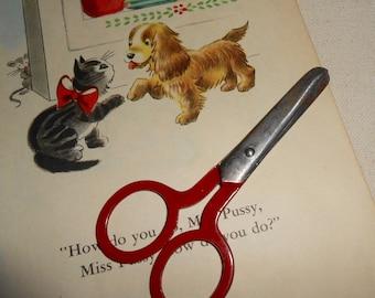 Vintage Red Handle Childrens Scissors, Vintage School Scissors, Vintage School Supplies