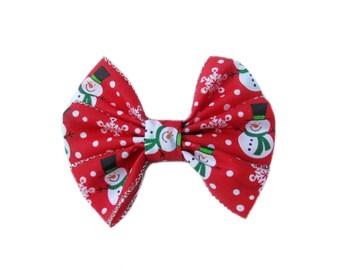 Snowman Hair Bow, Winter Hair Bow, Girls Christmas Hair Bow, Girl Hair Accessories