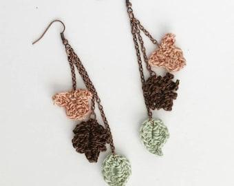 Crochet Leaves Earrings, Fall Earrings, Autumn Leaves Earrings, Fashion Jewelry, Fall Fashion, Gift for Her, Leaf Earrings, Mother's Day