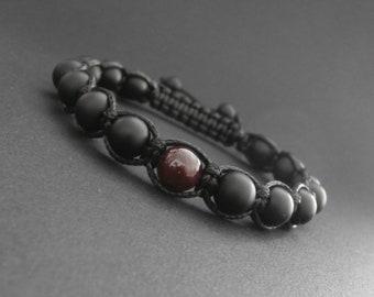 Shamballa men natural Garnet and matte black onyx stone bracelet