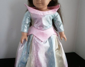American Made Aurora Costume for 18 inch size dolls, American Girl size doll Sleeping Beauty costume
