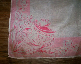 1933  antique silk hanky Lily of the Valley