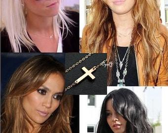 Gold horizontal cross necklace, Sideways cross necklace, Jennifer Lopez Kelly Ripa cross necklace, Cross jewelry, celebrity cross inspired