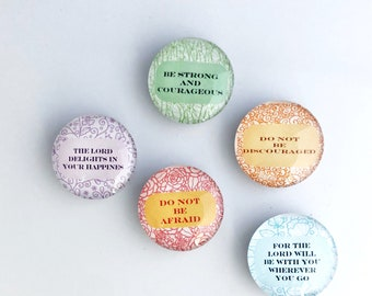 Inspirational Quotes Glass Dome Marble Magnets