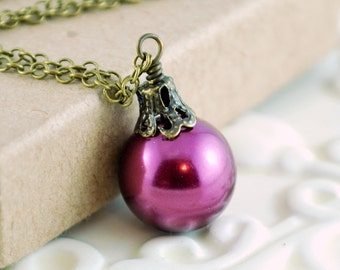 Christmas Ball Necklace, Antiqued Brass, Plum Glass Pearl, Fun Holiday Jewelry