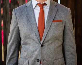 Burnt orange linen skinny necktie