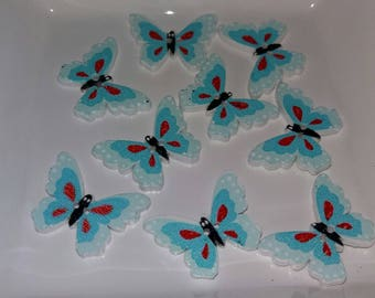 set of 9 Butterfly buttons blue wooden