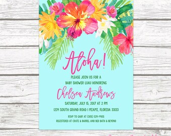 Luau Baby Shower Invitation, Tropical Baby Shower Invitation, Aloha Baby Shower Invite, Tropical Invitation, Hawaiian Printable Invite