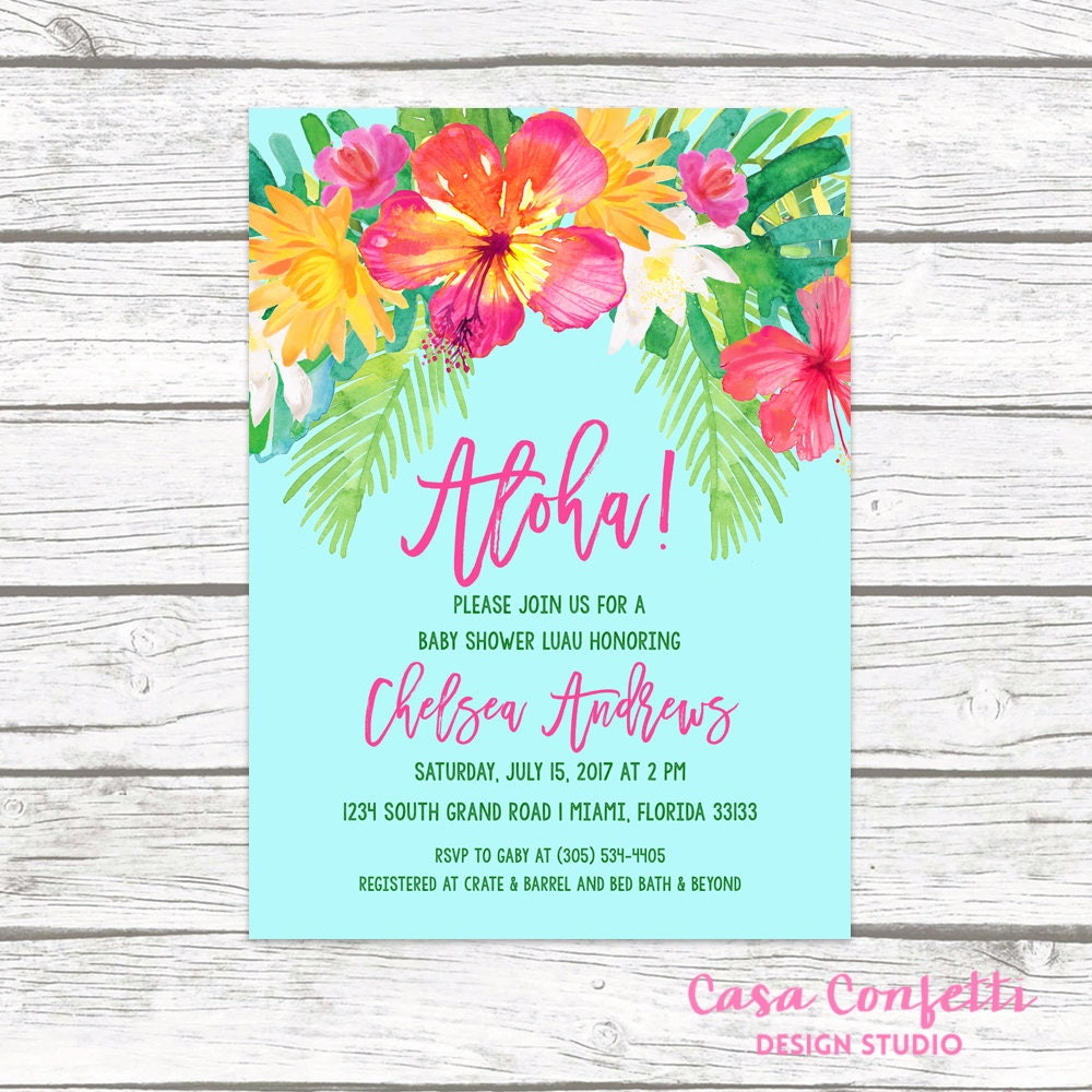 Luau Baby Shower Invitation Tropical Baby Shower Invitation