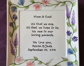 Personalized wedding gift for parents wedding gift mother of the bride gift mother of the groom wedding gift parents mom gift Wild Flowers