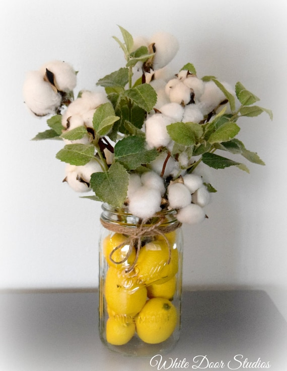 Cotton Stem and Greenery Arrangement in Lemon Filled Mason Jar