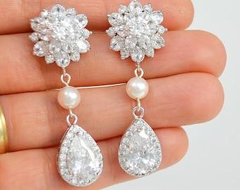 Bridal Cubic Zirconia Crystal Stud Earrings, Silver, Rose Gold, Swarovski Pearls Drop Earrings, Nina Ships in 1-3 Business Days