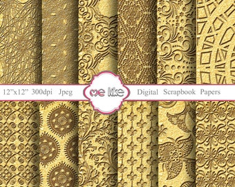 Digital Scrapbooking Gold  Paper Pack  -INSTANT DOWNLOAD-Digital Paper for Personal or Commercial Use - 12 Sheets - 300 DPI -