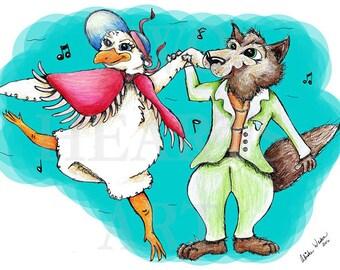 Original Art Print, Dancing Goose and Wolf, Wall Art, Home Decor, Nursery Wall Art