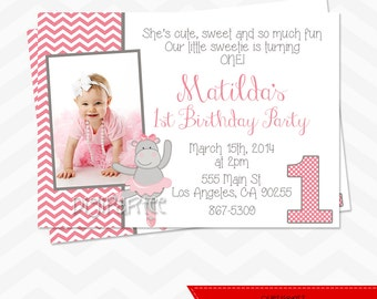 Pink Hippo Invitation