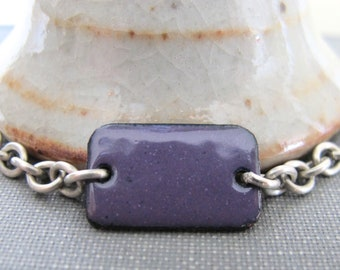 Purple Bracelet, Enamel Bracelet, Enameled Copper, Silver Chain, Chain Bracelet, Violet Rectangle, Geometric Jewelry, Silver Bracelet