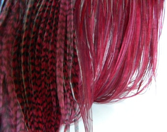 "10 BURGUNDY Grizzly & Solid Feather Hair Extensions, SKINNY Hair Feather Extensions, 8"" to 10"" Long"