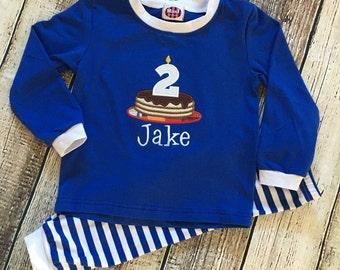 Pancake Birthday pajamas - Monogrammed Applique Blue Stripe PJ's
