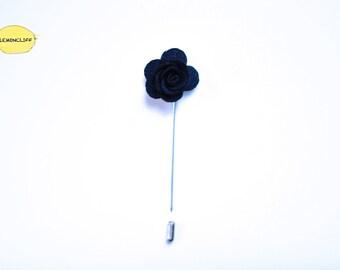 Blue Floral Pin, Navy Blue Floral Pin, Men Suit Lapel, Ribbon Pin, Flower Lapel, Floral Pin, Wedding Floral Ribbon