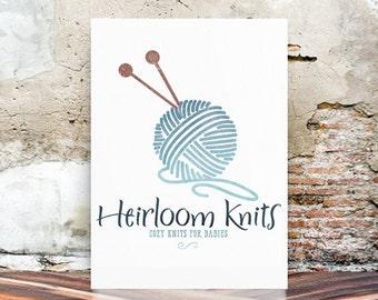 Watercolor Logo - knitting Logo Design